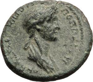 reverse: Nero with Poppaea.. AE 20 mm. Thyatira mint, Lydia, c. 62 AD