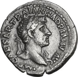 obverse: Hadrian (117-138).. AR Quinarius, Rome mint, 118 AD
