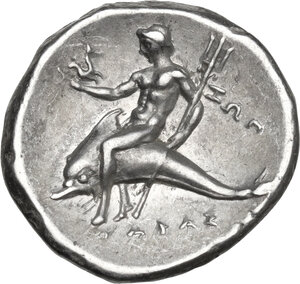 reverse: Southern Apulia, Tarentum. AR Nomos, c. 272-240 BC. Reduced standard