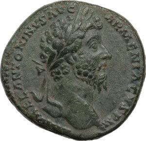 obverse: Marcus Aurelius (161-180 AD).. AE Sestertius, Rome mint, 164-165 AD