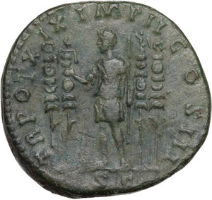 reverse: Marcus Aurelius (161-180 AD).. AE Sestertius, Rome mint, 164-165 AD
