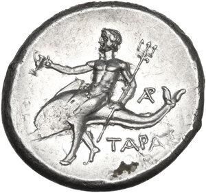 reverse: Southern Apulia, Tarentum. AR Nomos, c. 272-235 BC