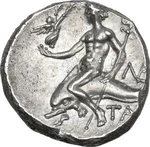 reverse: Southern Apulia, Tarentum.  AR Nomos,  240-228 BC