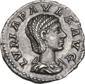 obverse: Julia Paula, first wife of Elagabalus (218-222).. AR Denarius, Rome mint