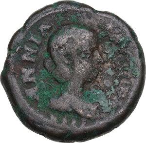 obverse: Annia Faustina, third wife of Elagabalus (Augusta 221 AD)..  BI Tetradrachm, Alexandria mint, Egypt. Dated RY 5 (221/2 AD)
