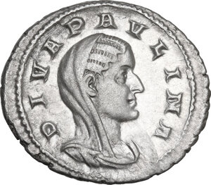 obverse: Paulina, wife of Maximinus I (died 235 AD).. AR Denarius. Consecration issue, Rome mint, 236 AD