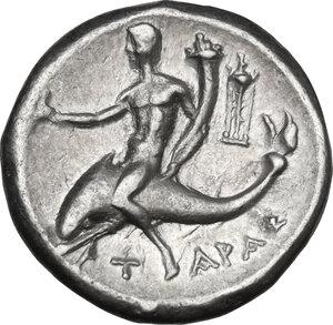 reverse: Southern Apulia, Tarentum. AR Nomos, Reduced standard, c. 240-228 BC