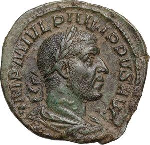 obverse: Philip I (244-249).. AE Sestertius, Rome mint