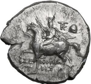 obverse: Southern Apulia, Tarentum. AR Nomos, Xenokrates magistrate, c. 215-212 BC