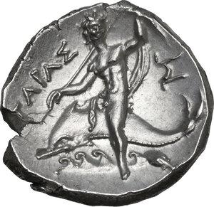 reverse: Southern Apulia, Tarentum. AR Nomos, Xenokrates magistrate, c. 215-212 BC