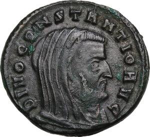 obverse: Constantius I Chlorus (Divus, after 306 AD).. AE Follis, struck under Maxentius, Ticinum mint