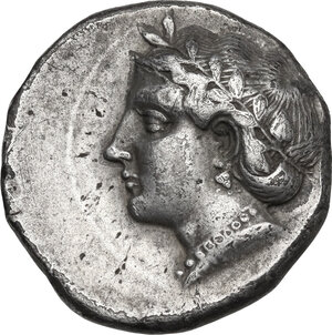 obverse: Southern Lucania, Metapontum. AR Stater, c. 375 BC. Obverse signed by the artist Aristoxenos