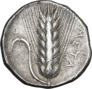reverse: Southern Lucania, Metapontum. AR Stater, c. 375 BC. Obverse signed by the artist Aristoxenos