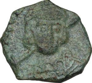 obverse: Constantine IV Pogonatus, with Heraclius and Tiberius (668-685).. AE Follis, Ravenna mint. Dated RY 23 (676/7 AD)
