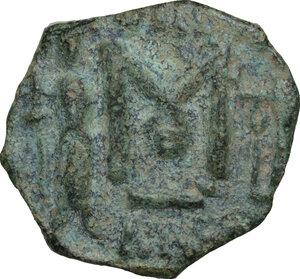 reverse: Constantine IV Pogonatus, with Heraclius and Tiberius (668-685).. AE Follis, Ravenna mint. Dated RY 23 (676/7 AD)