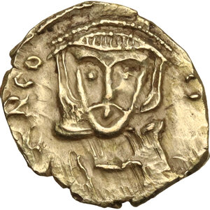 obverse: Leo III, the Isaurian (717-741). AV debased Tremissis, Rome mint, RY 4 = 720/1 AD