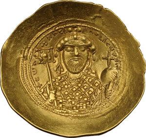 reverse: Constantine IX, Monomachus (1042-1055 AD).. AV Histamenon Nomisma, Constantinople mint