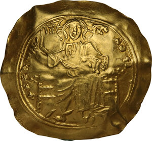 obverse: Alexius I, Comnenus (1081-1118) . AV Hyperpyron Nomisma, Constantinople mint