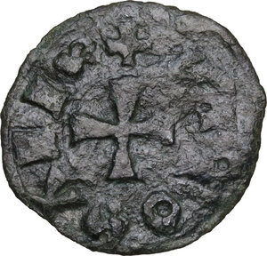 reverse: Alvignano.  Nicola di Monforte (1461-1463).. Denaro tornese