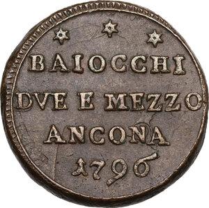 obverse: Ancona.  Pio VI (1775-1799), Giovanni Angelo Braschi. Sampietrino da 2 e mezzo baiocchi 1796