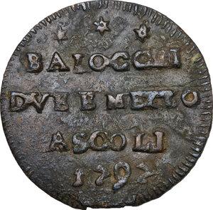 obverse: Ascoli.  Pio VI (1775-1799), Giovanni Angelo Braschi. Sampietrino da 2 e mezzo baiocchi 1797 ridotto