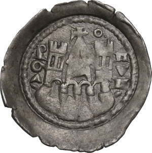 reverse: Bergamo.  Comune a nome di Federico II Imperatore (Sec. XIII-XIV). Denaro scodellato
