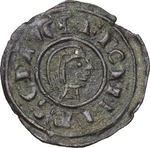 obverse: Brindisi.  Federico II di Svevia (1197-1250). Mezzo denaro, 1243