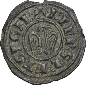 reverse: Brindisi.  Federico II di Svevia (1197-1250). Mezzo denaro, 1243