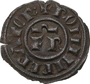 obverse: Brindisi.  Federico II di Svevia (1197-1250). Mezzo denaro, c. 1248