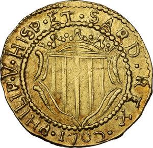 obverse: Cagliari.  Filippo V di Spagna (1700-1707).. Scudo d oro 1702