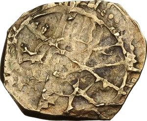 reverse: Cassibile.  Ibn Al Thumna (1052-1062). Tarì imitativo al tipo di Ruggero I per Palermo