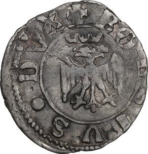 obverse: Ferrara.  Borso d Este (1450-1471).. Quattrino