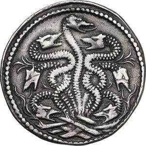 reverse: Ferrara.  Ercole II d Este (1534-1559). Testone o idra