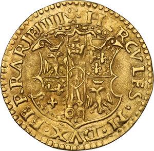 obverse: Ferrara.  Ercole II d Este (1534-1559). Scudo d oro del sole
