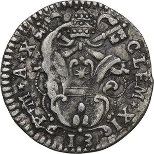 obverse: Ferrara.  Clemente XI (1700-1721), Giovanni Francesco Albani. Grossetto da 13 quattrini A. X, 1709