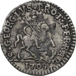 reverse: Ferrara.  Clemente XI (1700-1721), Giovanni Francesco Albani. Grossetto da 13 quattrini A. X, 1709