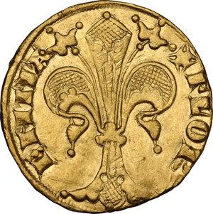 obverse: Firenze.  Repubblica (Sec. XIII-1532). Fiorino d oro IX serie, 1338 I sem., simbolo fibbia con ardiglione, Giovanni di Stefano di Soderino maestro di zecca