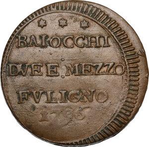 obverse: Foligno.  Pio VI (1775-1799), Giovanni Angelo Braschi. Sampietrino da due baiocchi e mezzo 1796