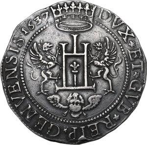 obverse: Genova.  Dogi Biennali (1528-1797), II fase (1541-1637).. Da due Scudi 1637, sigle IB SVS