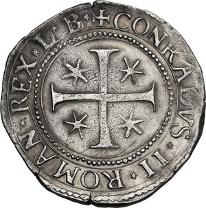 reverse: Genova.  Dogi Biennali (1528-1797), II fase (1541-1637).. Mezzo Scudo 1577, sigle LB