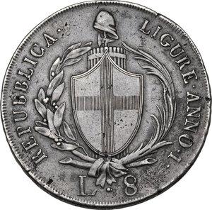 obverse: Genova.  Repubblica Ligure (1798-1805).. Da 8 lire A. I, 1798