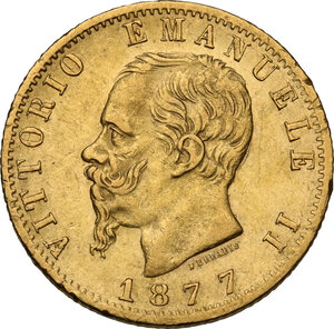 obverse: Vittorio Emanuele II  (1861-1878). 20 lire 1877 Roma