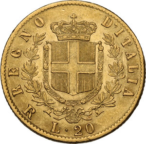 reverse: Vittorio Emanuele II  (1861-1878). 20 lire 1877 Roma
