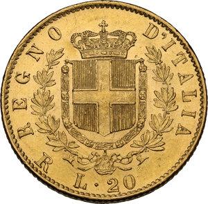 reverse: Vittorio Emanuele II  (1861-1878). 20 lire 1878 Roma
