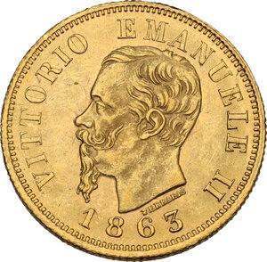 obverse: Vittorio Emanuele II  (1861-1878). 10 lire 1863 Torino
