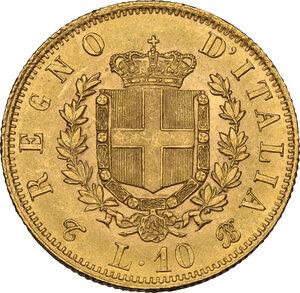 reverse: Vittorio Emanuele II  (1861-1878). 10 lire 1863 Torino