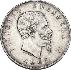 obverse: Vittorio Emanuele II  (1861-1878). 5 lire 1865 Torino