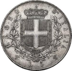 reverse: Vittorio Emanuele II  (1861-1878). 5 lire 1865 Torino