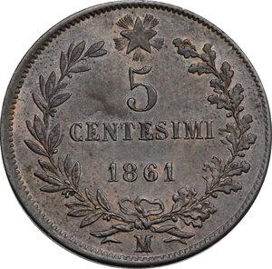 reverse: Vittorio Emanuele II  (1861-1878).. 5 centesimi 1861 Milano