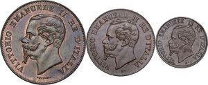 obverse: Vittorio Emanuele II  (1861-1878).. Lotto di tre (3) monete da 5 centesimi, 2 centesimi  e centesimo 1867 Milano